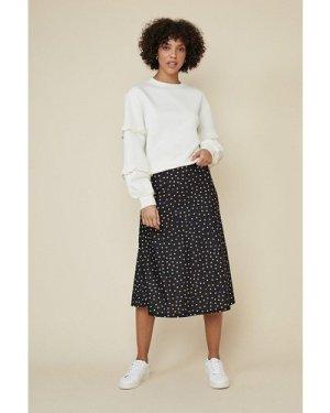 Womens Spot Print Bias Midi Skirt - black, Black