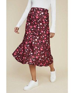 Womens Heart Bias Midi Skirt - multi, Multi