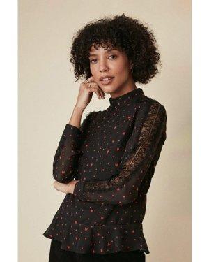 Womens Heart Printed Lace Trim Top - black, Black