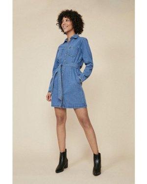 Womens Denim Belted Button Through Dress - mid wash, Mid Wash
