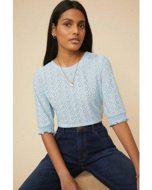 Womens Broderie Shirred Cuff T Shirt - blue, Blue