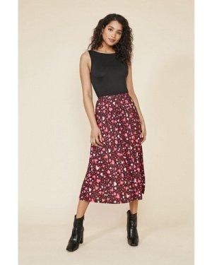 Womens Heart Print Pleated Midi Skirt - multi, Multi