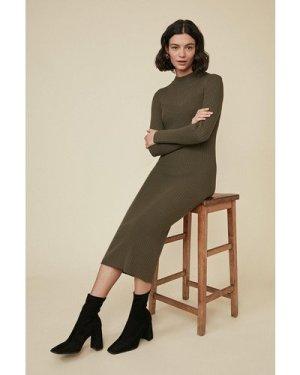 Womens Super Soft Rib Dress - khaki, Khaki