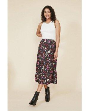 Womens Floral Pleated Midi Skirt - multi, Multi
