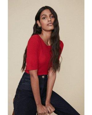 Womens Zig Zag Stitch T Shirt - red, Red