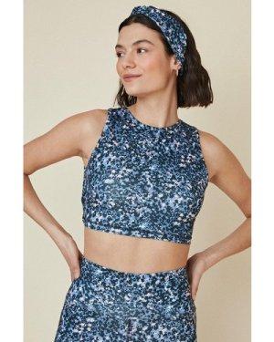 Womens Blurred Animal Bow Sports Bra - vintage blue, Vintage Blue