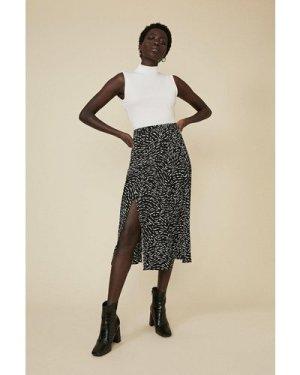 Womens Mono Print Pleated Midi Skirt - black, Black