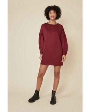 Womens Drop Sleeve Sweat Tunic - burgundy, Burgundy