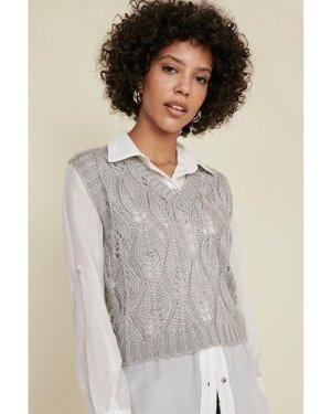 Womens V Neck Stitch Detail Vest - grey, Grey