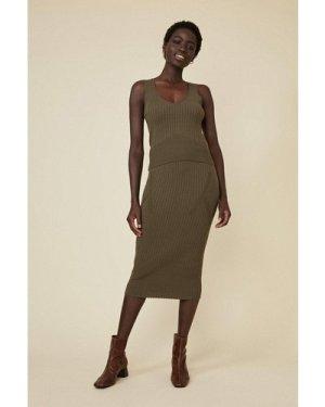 Womens Super Soft Rib Skirt - khaki, Khaki