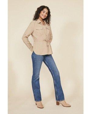 Womens Cropped Parka Jacket - natural, Natural
