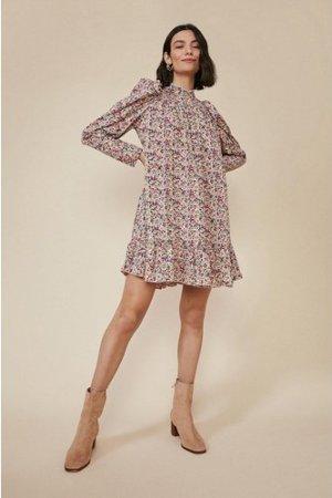 Womens Floral Ruffle Hem Skater Dress - multi, Multi