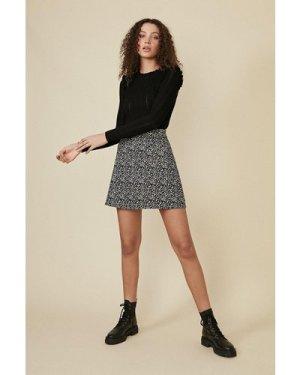 Womens Belted Animal Mini Skirt - black, Black
