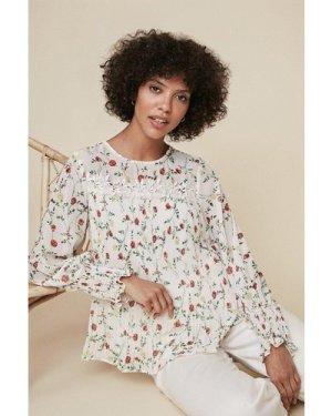 Womens Floral Print Pleated Trim Detail Top - white, White