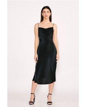 Black Midi Satin Strappy Dress size: L, colour: Black