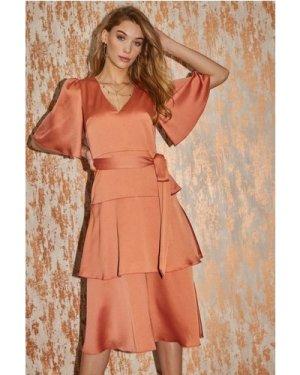 Winnie Rust Satin Tiered Midi Dress size: 14 UK, colour: Rust