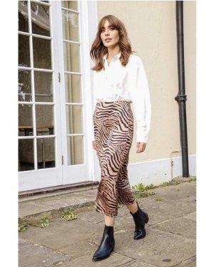 Zebra Satin Midi Skirt  size: M, colour: Multi