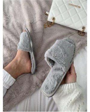 Grey Fluffy Slipper size: Footwear 9 UK, colour: Grey