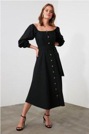 Trendyol Little Mistress x Trendyol Black Belted Button Detailed Dress
