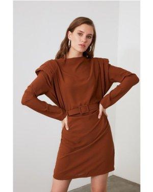 Trendyol Brown Belted Shoulder Detail Dress size: 6 UK, colour: Brown