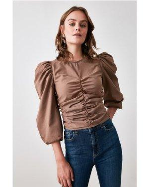 Trendyol Little Mistress x Trendyol Mink Gathered Blouse size: 14 UK,
