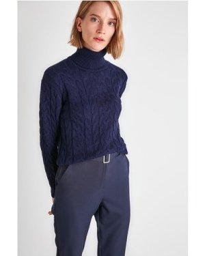 Trendyol Little Mistress x Trendyol Navy Roll Neck Chunky Knit size: S