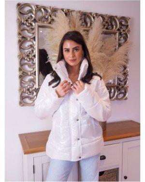 Trendyol White High-Neck Puffer Jacket size: XS, colour: Ecru