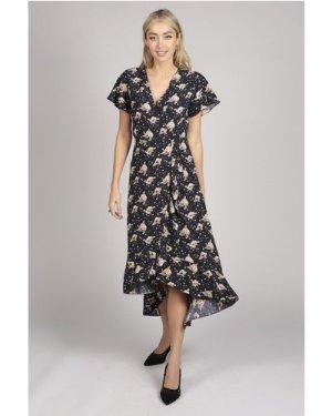 Tenki RUFFLE SLEEVE FLORAL PATTERN WRAP MAXI DRESS IN BLUE size: 10 UK