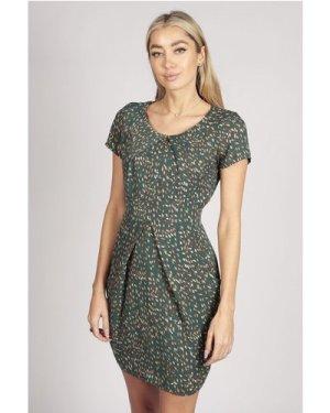 Tenki SHORT SLEEVE PATTERNED TULIP DRESS IN GREEN size: 10 UK, colour: