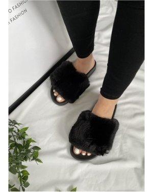 Black Faux-Fur Slipper size: Footwear 5 UK, colour: Black