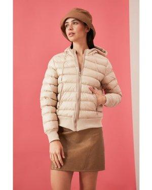 Trendyol Mink Hooded Puffer Jacket size: M, colour: Mink