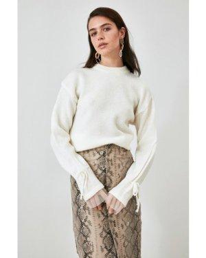 Trendyol Little Mistress x Trendyol White Tie Sleeve Knit size: L, col