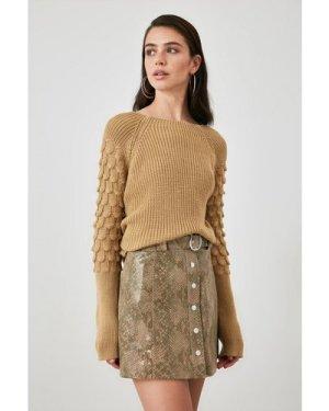 Trendyol Little Mistress x Trendyol Tan Detail Sleeve Knit Jumper size