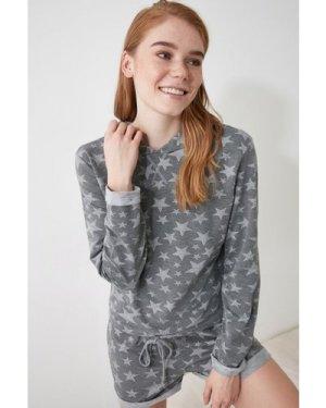 Trendyol Grey Star Hooded Pyjamas size: M, colour: Grey