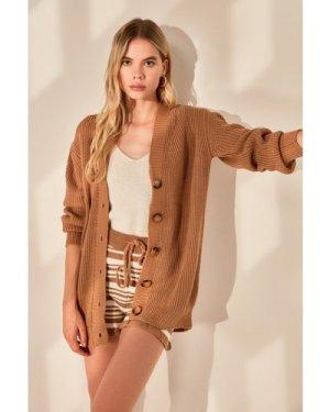 Trendyol Camel Button Long Cardigan size: M, colour: Camel