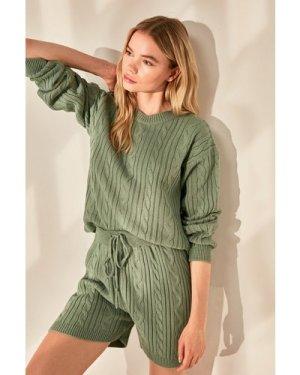 Trendyol Little Mistress x Trendyol Mint Short Knit Co-ord size: M, co