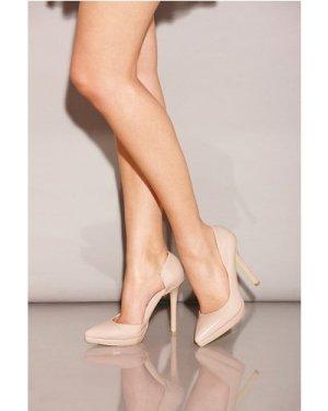 Little Mistress Footwear Nude Patent Open Side Court Shoes size: Footw