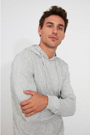 Trendyol Men's Ribbed Grey Hoodie size: S, colour: Grey