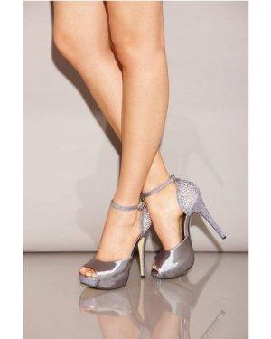 Little Mistress Footwear Silver Diamante Peep Toe Strap Heels size: Fo