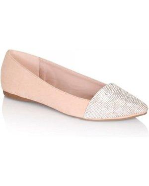 Little Mistress Footwear Nude Pointed Glitter Pumps size: Footwear 7 U