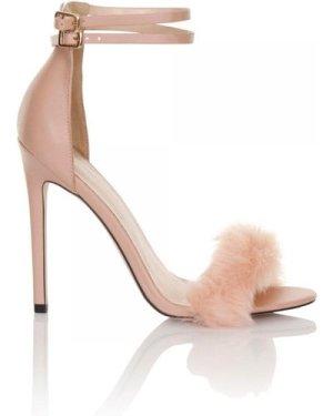 Little Mistress Footwear Blush Fur Double Ankle Strap Heels size: Foot
