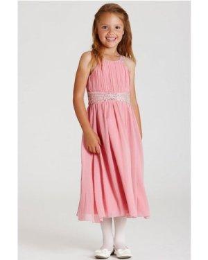 Little MisDress Pink Embellished Chiffon Midi Dress size: 9-10 Yrs, co