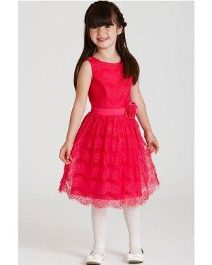 Little MisDress Pink Lace Bow Waist Dress size: 11-12 Yrs, colour: Hot