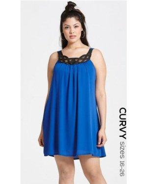Girls On Film Curvy Cobalt Chiffon Dress With Black Neckline Design si