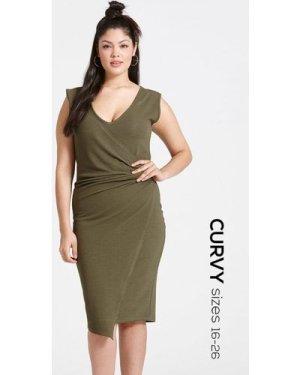 Girls On Film Curvy Khaki Drape Dress size: 24 UK, colour: Khaki