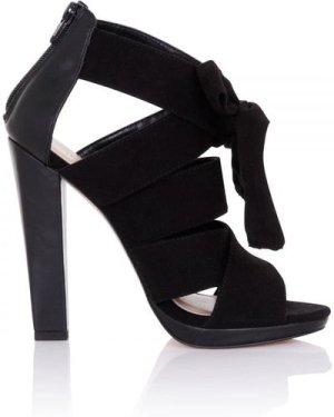 Little Mistress Footwear Nyx Black Bow Heeled Sandals size: Footwear 7