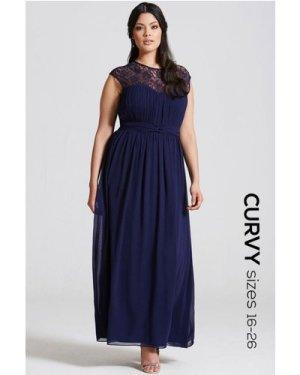 Little Mistress Curvy Navy Sheer Lace Maxi Dress size: 22 UK, colour: