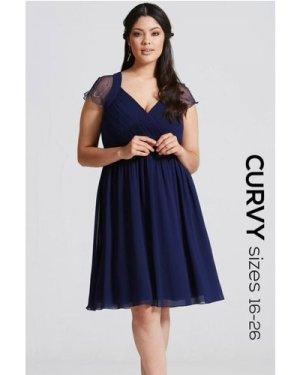 Little Mistress Curvy Navy Embellished Prom Dress size: 20 UK, colour: