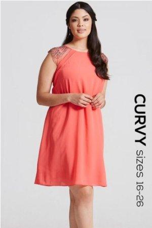 Little Mistress Curvy Coral Embellished Open Back Shift Dress size: 18