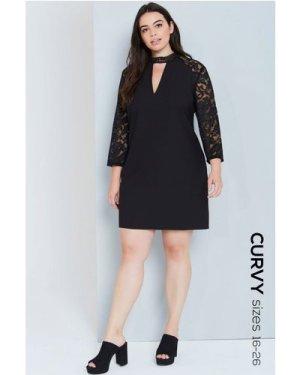 Girls On Film Curvy Black Choker Detail Lace Dress size: 16 UK, colour